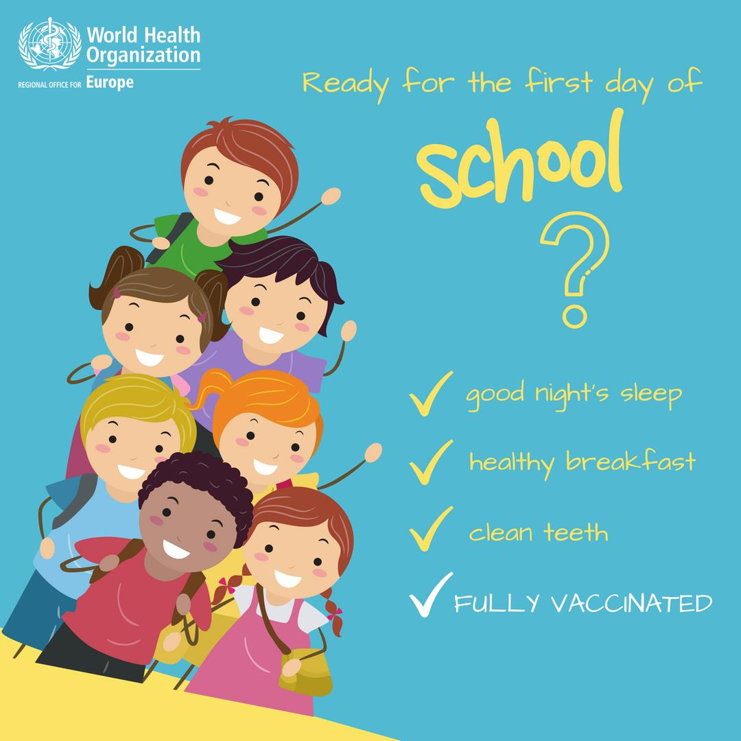 Ready forthe first day of school? Good nights sleep.  Healthy breakfast.  Clean teeth.  Fully vaccinated.