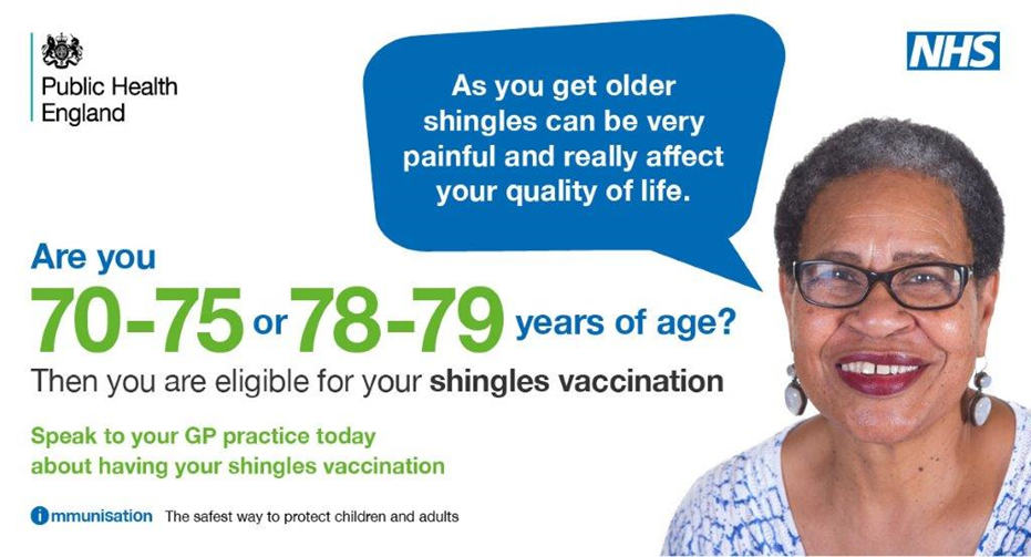 Are you 70 to 75 or 78 to 79 years of age then you are eligible for your shingles vaccination speak to your gp practice today about having your shingles vaccination